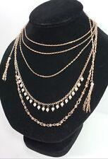 8614ce52e5df59 New $29 Multi-Strand INC Goldtone and Pearl Filigree Tassel Necklace