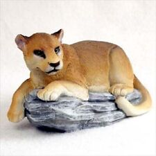 Cougar Cat On Rock Animal Hand Painted Figurine resin Collectible Mountain Lion