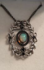 RARITIES ETHIOPIAN OPAL, BLACK SPINEL, WHITE ZIRCON Necklace, Sterling Silver