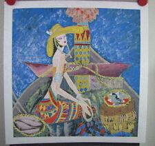 """Zhang Ting Yunnan School Original Chinese Art on Gaoli Paper """"Mekong River"""" 1991"""