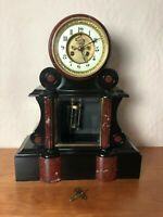 Antique French Black Slate and Red Mantle Clock