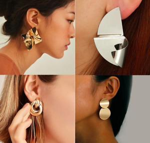 Sexy Luxury Fashion Metal Vintage Earrings Geometric Big Statement Silver Gold