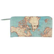 Sass & Belle Vintage Map Take Your Money Go Wallet Purse Cards Change Cash