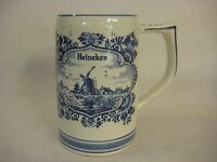 "Delft Blue Hand Painted Heineken Beer Stein, Made In Holland, 5 1/4"" T X 5"" W"