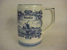 """Delft Blue Hand Painted Heineken Beer Stein, Made In Holland, 5 1/4"""" T X 5"""" W"""