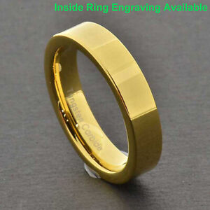 Tungsten Shiny Flat Top Gold Plated Band Women's Wedding/Engagement Ring