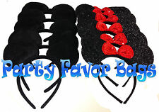 24 pcs Mickey Minnie Mouse Ears Headbands Black Red Shiny Party Favors Birthday