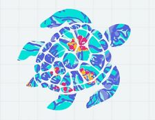 "Sea Turtle in Blue Floral Decal/Sticker Great for Insulated Cups *** 3"" X 3"" ***"