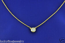 0.27 ct 14k Solid Yellow Gold Solitaire Natural Diamond Necklace Chain Bezel set