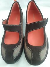 Lands End Womens Brown Leather And Gray Canvas New Mary Jane Shoes Size 8.5 B