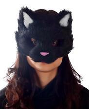 ADULT BLACK FURRY KITTY CAT FACE PVC MASK ANIMAL COSTUME MR039053