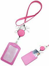 3 in 1 Necklace PU Leather Lanyard with Retractable Reel and Vertical ID Badge