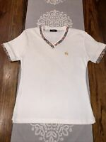 🔥❤️BurBerry Women's White V Neck T Shirt Size Small Excellent Condition