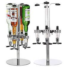 Rotary 4 Bottle Stand Drinks Optics Dispenser in Spirits Wine Steel Bar Butler
