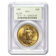 1907 $20 St. Gaudens Gold Double Eagle MS-61 PCGS - SKU #56735