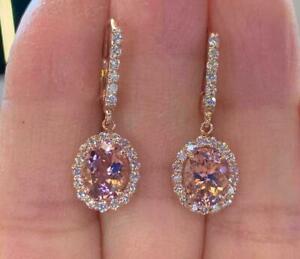 4.20Ct Oval Morganite Diamond Halo Drop & Dangle Earrings 14K Rose Gold Finish