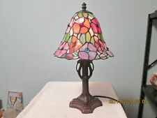 """Tiffany Style Stained Glass Flower Pattern Table Lamp Night Light 16"""" Tall"""
