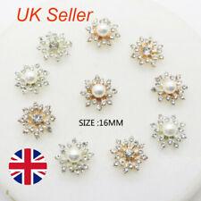 10Pcs Snowflake Crystal Rhinestone DIY Embellishments Flatback Buttons Decor UK