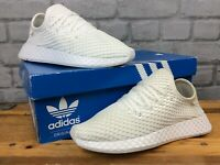 ADIDAS UK 3 1/2 EU 36 DEERUPT WHITE RED MESH TRAINERS RRP£75 CHILDRENS LADIES LG