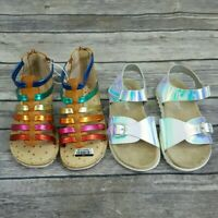 Lot of 2 Cat & Jack Girls Toddlers Sz 7 Sandals Silver & Multi-color Gladiator