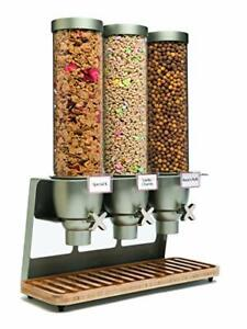 Rosseto EZ547 EZ-SERV Triple Container Table-Top Cereal Dispenser Bamboo Tray