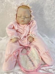 "Porcelain Bisque Doll New Born Baby Handmade Pink Sleeper 19"" 1736FD Joyce Wolfe"