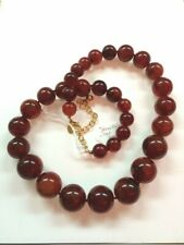 Joan River Large Marble Brown Beads Necklace