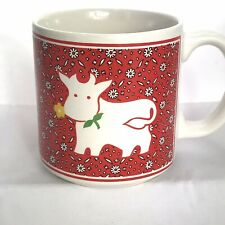 Red Cow Coffee Cup JSNY Farm Animals Flowers