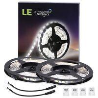 LE 2 Pack 16.4ft 2835 LED Light Strip SMD Daylight 12V Tape Lamp Non-waterproof