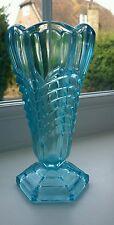 """Davidson Art Deco blue glass """"Chevron"""" vase."""
