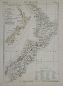 Original 1884 Map NEW ZEALAND Geology Counties Auckland Wellington Christchurch