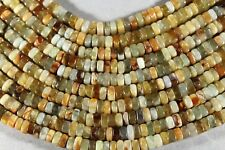 "UNIQUE NATURAL FLOWER 'JADE' GEMSTONE 4X7MM SQUARE RONDELLE BEADS 16"" STRAND"