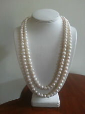 52 In. Baroque Culture Pearl White Necklace, Strand/String, with Silver Clasp