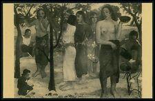 art Paul Gaugin Papeete nude woman original old c1930-1940s postcard
