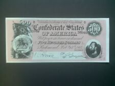 Confederate States 1864 Currency $500.00 Reproduction.~Nice Color~Free Shipping.