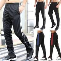 Mens Sweatpants Sports Training Pants Track Soccer Zipper Pocket Jogger Trousers