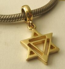 GENUINE SOLID 9K  9ct YELLOW GOLD CHARM BEAD with 3D STAR OF DAVID DROP