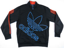 Adidas Originals Black Orange 3 Stripes Big Trefoil Full Zip Track Jacket M