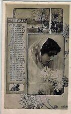 Calendario Mese Novembre 1905 PC Belle Epoque Fotomontaggio Segni Zodiacali
