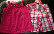 Gymboree Candy Apple HTF hot pink pleated top & plaid shorts NWT 6 SCHOOL