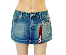 Hav Money Denim Micro Mini Skirt NWT Size Medium Rhinestone & Bead Detailing