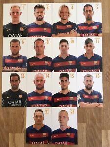 14 AK Autogrammkarten *FC BARCELONA* 15/16 2015/2016 Autogrammkartensatz Messi..