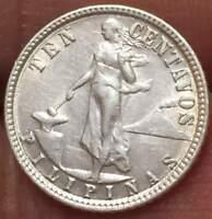 1945 D Philippines 10 Centavos .75 Silver ***AU/UNC*** U GRADE THE COIN