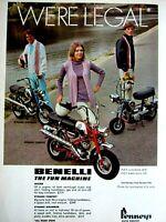 "1969 Benelli Mini Bikes The Fun Machine We're Legal Original Print Ad 8.5 x 11"""