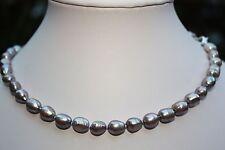 AA25G 46 cm Süßwasser Perlen Schmuck Perlenkette Halskette Ketten Collier barock