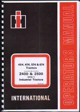 International 454/474/574/674 Tractor Operators Manual