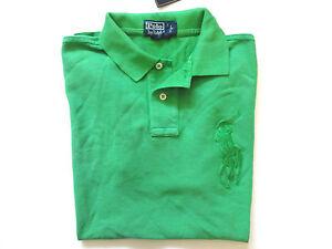 New Ralph Lauren Polo Big Pony Custom Fit 100% cotton Green Summer Shirt L