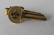"""Plated Brass Key Men'S Tie Clip Usa Vintage Robbins """"Eagle Fleur De lis"""" Gold"""