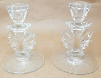 Vintage Fostoria Navarre Etched Glass Meadow Rose Etched Baroque Candlesticks
