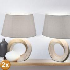 2x Mesa Lámpara de Lectura Noche Luz Iluminación Textil Gris Mármol Reflector